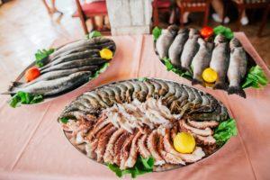 fresh seafood, fish, shrimps,squids, octopuses, sea bass