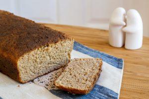 Homemade bread on a linen towel
