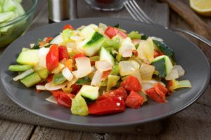 sautéed grilled vegetables on old wooden classic